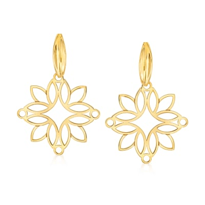 14kt Yellow Gold Openwork Floral Drop Earrings