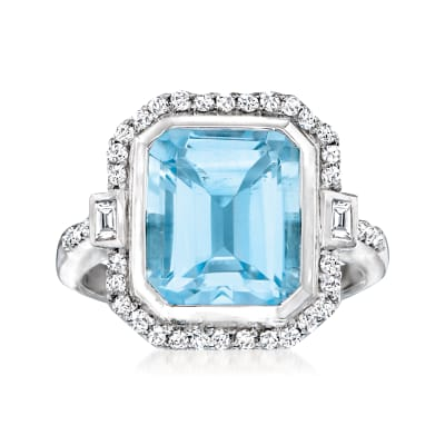 6.60 Carat Sky Blue Topaz and .32 ct. t.w. Diamond Ring with White Topaz Accents in Sterling Silver