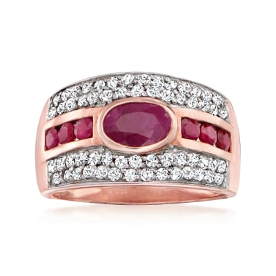 1.30 ct. t.w. Ruby and .60 ct. t.w. White Zircon Ring in 18kt Rose Gold Over Sterling