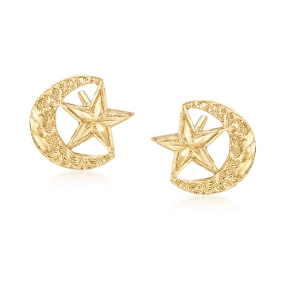 14kt Yellow Gold Crescent Moon and Star Earrings