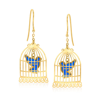 14kt Yellow Gold and Blue Enamel Bird Cage Drop Earrings