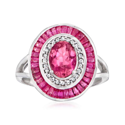 1.20 Carat Pink Tourmaline and 2.20 ct. t.w. Ruby Ring with .11 ct. t.w. Diamonds in 14kt White Gold