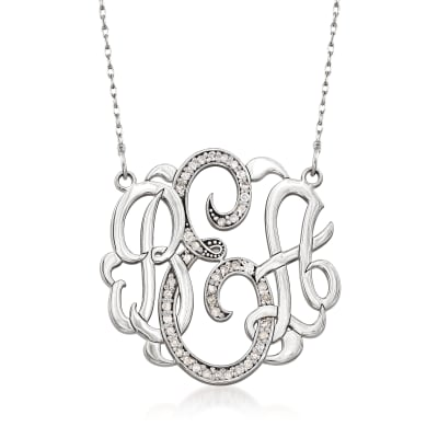 .20 ct. t.w. Diamond Monogram Necklace in 14kt White Gold