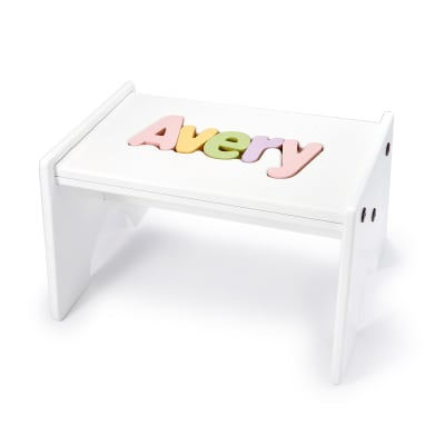 Child's Personalized Name Puzzle Stool - Pastel Colors