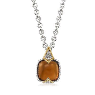 "Andrea Candela ""Dulcitos"" 4.41 Carat Cognac Quartz Pendant Necklace in Sterling Silver and 18kt Yellow Gold"