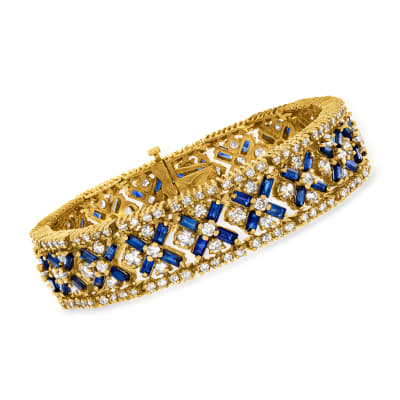 C. 1980 Vintage 14.40 ct. t.w. Sapphire and 13.50 ct. t.w. Diamond Bracelet in 14kt Yellow Gold