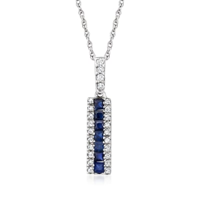 .40 ct. t.w. Sapphire and .15 ct. t.w. Diamond Linear Pendant Necklace in 14kt White Gold