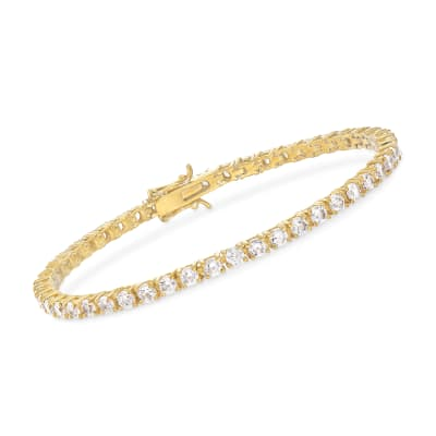 5.00 ct. t.w. CZ Tennis Bracelet in 14kt Gold Over Sterling