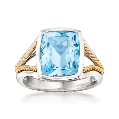 6.50 Carat Sky Blue Topaz Ring in Sterling Silver with 14kt Yellow Gold