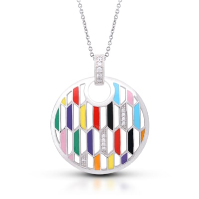 "Belle Etoile ""Trapezio"" Multicolored Enamel and .14 ct. t.w. CZ Circle Pendant in Sterling Silver"