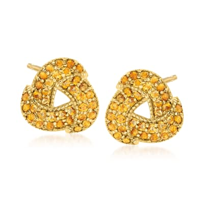 1.50 ct. t.w. Citrine Love Knot Earrings in 18kt Gold Over Sterling