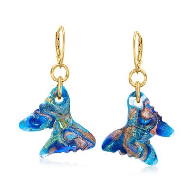 Italian Murano Glass Butterfly Drop Earrings in 18kt Gold Over Sterling