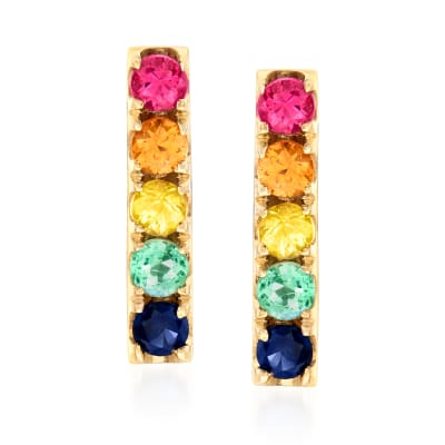 .23 ct. t.w. Multicolored Sapphire and .13 ct. t.w. Multi-Gem Bar Earrings in 14kt Yellow Gold