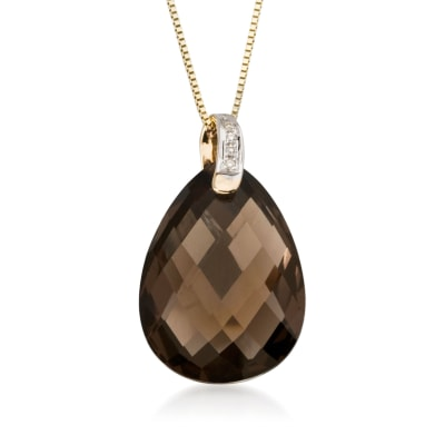 10.00 Carat Smoky Quartz Drop Necklace in 14kt Yellow Gold