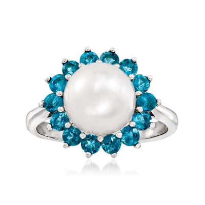 8-8.5mm Cultured Pearl and .60 ct. t.w. London Blue Topaz Ring in Sterling Silver