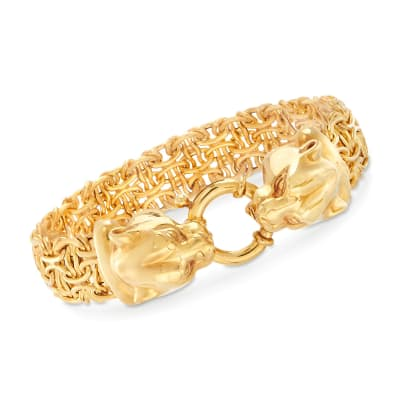 Italian 14kt Yellow Gold Double Panther Head Link Bracelet