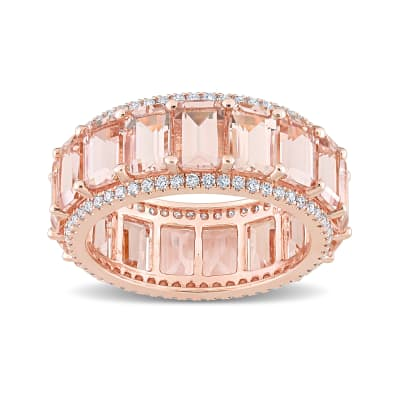 8.25 ct. t.w. Morganite Eternity Band with .57 ct. t.w. Diamonds in 14kt Rose Gold