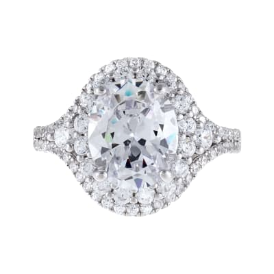 6.76 ct. t.w. CZ Double-Halo Ring in Sterling Silver
