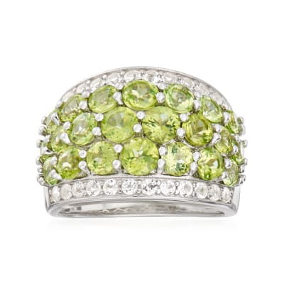 4.20 ct. t.w. Peridot and .70 ct. t.w. White Topaz Ring in Sterling Silver