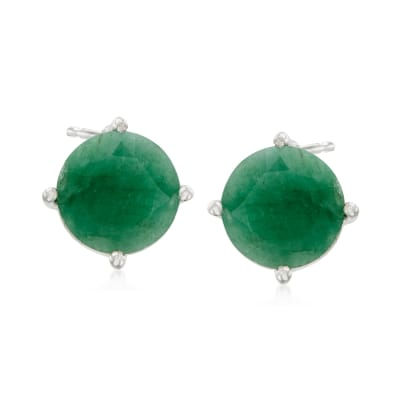 4.00 ct. t.w. Emerald Stud Earrings in Sterling Silver