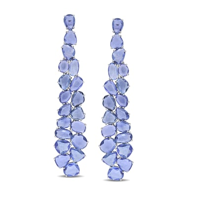 30.00 ct. t.w. Sapphire Cluster Drop Earrings in 14kt White Gold