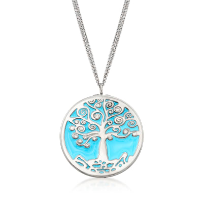 Italian Blue Enamel Tree of Life Pendant Necklace in Sterling Silver