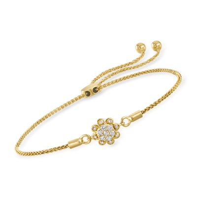 .14 ct. t.w. Diamond Flower Bolo Bracelet in 14kt Yellow Gold