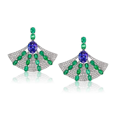 5.90 ct. t.w. Tanzanite, 5.50 ct. t.w. Emerald and 2.60 ct. t.w. Diamond Fan Drop Earrings in 18kt White Gold