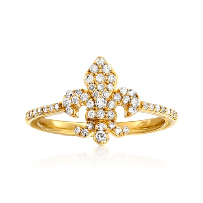 .33 ct. t.w. Diamond Fleur-De-Lis Ring in 18kt Gold Over Sterling