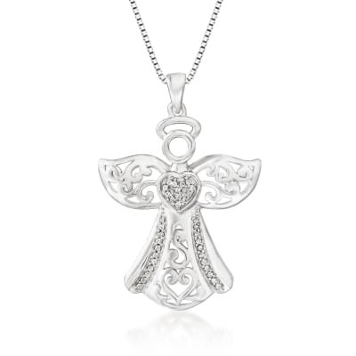 .15 ct. t.w. Diamond Angel Heart Pendant Necklace in Sterling Silver