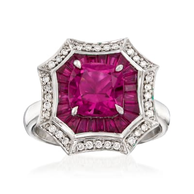 1.90 Carat Pink Tourmaline and 2.90 ct. t.w. Ruby with .17 ct. t.w. Diamond Ring in 14kt White Gold