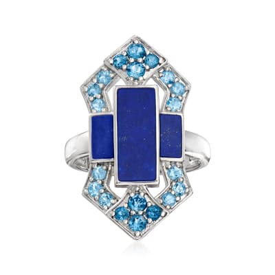 Lapis and .80 ct. t.w. Tonal Blue Topaz Ring in Sterling Silver