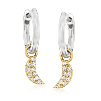 .15 ct. t.w. Diamond Moon Hoop Drop Earrings in Sterling Silver and 14kt Yellow Gold