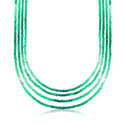Green Chalcedony Multi-Row Necklace in 18kt Gold Over Sterling