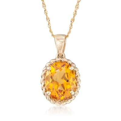 1.70 Carat Citrine Pendant Necklace in 14kt Yellow Gold
