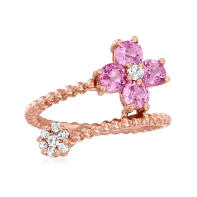 1.30 ct. t.w. Pink Sapphire and .15 ct. t.w. Diamond Flower Wrap Ring in 14kt Rose Gold