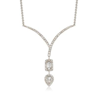 .41 ct. t.w. Diamond Chevron Teardrop Necklace in 18kt White Gold