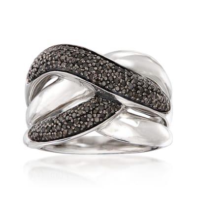 .50 ct. t.w. Black Diamond Crisscross Ring in Sterling Silver