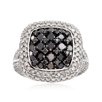 2.25 ct. t.w. Black and White Diamond Cluster Ring in 14kt White Gold