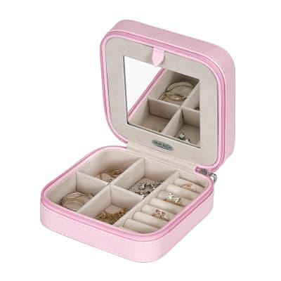 "Mele & Co. ""Josette"" Blush Faux Leather Travel Jewelry Case"