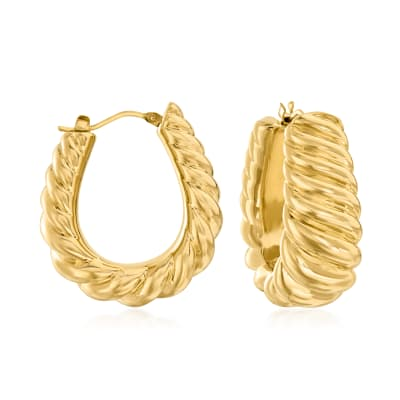 Italian Andiamo 14kt Yellow Gold Over Resin Ribbed Hoop Earrings