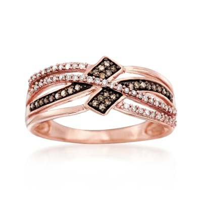 .25 ct. t.w. Champagne and White Diamond Crisscross Ring in 14kt Rose Gold