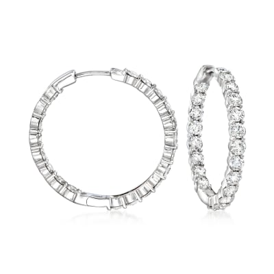 4.00 ct. t.w. Diamond Inside-Outside Hoop Earrings in 14kt White Gold