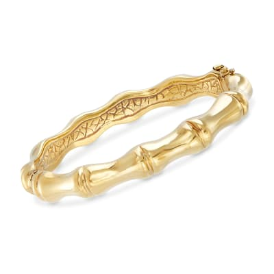Italian 18kt Yellow Gold Over Sterling Silver Bamboo Bangle Bracelet