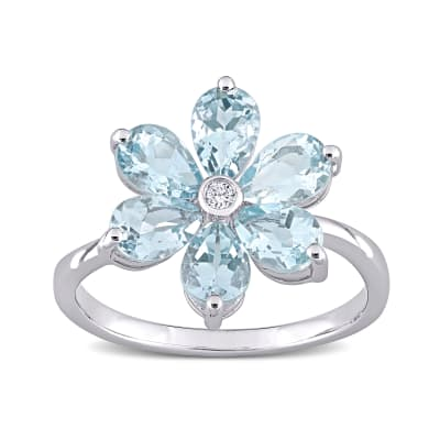 2.40 ct. t.w. Aquamarine and Diamond-Accented Flower Ring in 14kt White Gold