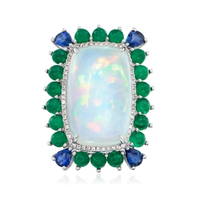 Opal, 4.10 ct. t.w. Emerald and .70 ct. t.w. Sapphire Ring with .46 ct. t.w. Diamond in 18kt White Gold