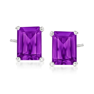 2.60 ct. t.w. Amethyst Stud Earrings in Sterling Silver