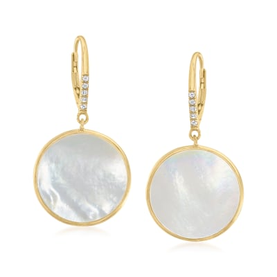 Mother-Of-Pearl and .10 ct. t.w. White Topaz Circle Drop Earrings in 18kt Gold Over Sterling