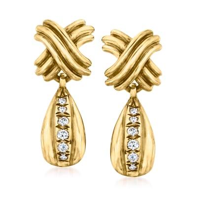 C. 1990 Vintage Tiffany Jewelry .15 ct. t.w. Diamond X Drop Earrings in 18kt Yellow Gold