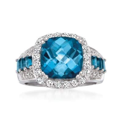 5.25 ct. t.w. London Blue and White Topaz Ring with Diamond Accents in Sterling Silver